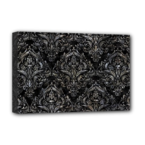 Damask1 Black Marble & Gray Stone Deluxe Canvas 18  X 12