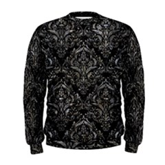 Damask1 Black Marble & Gray Stone Men s Sweatshirt