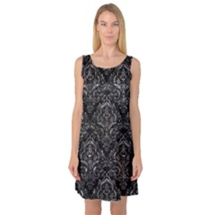 Damask1 Black Marble & Gray Stone Sleeveless Satin Nightdress