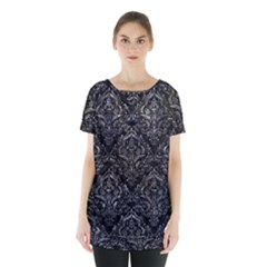 Damask1 Black Marble & Gray Stone Skirt Hem Sports Top