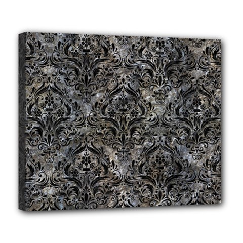 Damask1 Black Marble & Gray Stone (r) Deluxe Canvas 24  X 20