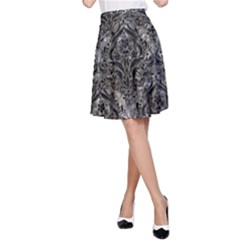 Damask1 Black Marble & Gray Stone (r) A Line Skirt