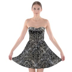 Damask1 Black Marble & Gray Stone (r) Strapless Bra Top Dress