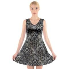 Damask1 Black Marble & Gray Stone (r) V Neck Sleeveless Skater Dress