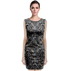 Damask1 Black Marble & Gray Stone (r) Classic Sleeveless Midi Dress