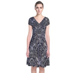 Damask1 Black Marble & Gray Stone (r) Short Sleeve Front Wrap Dress