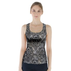 Damask1 Black Marble & Gray Stone (r) Racer Back Sports Top