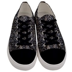 Damask1 Black Marble & Gray Stone (r) Men s Low Top Canvas Sneakers