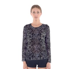 Damask2 Black Marble & Gray Stone Women s Long Sleeve Tee