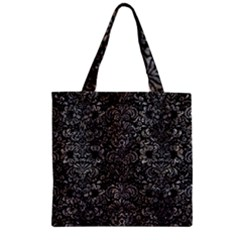 Damask2 Black Marble & Gray Stone Zipper Grocery Tote Bag