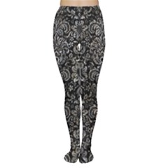 Damask2 Black Marble & Gray Stone Women s Tights