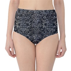 Damask2 Black Marble & Gray Stone High Waist Bikini Bottoms