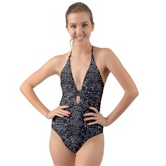 Damask2 Black Marble & Gray Stone Halter Cut Out One Piece Swimsuit