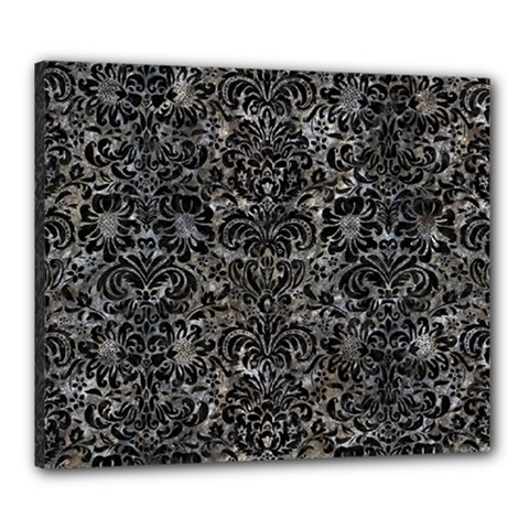 Damask2 Black Marble & Gray Stone (r) Canvas 24  X 20