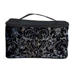 Damask2 Black Marble & Gray Stone (r) Cosmetic Storage Case