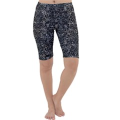 Damask2 Black Marble & Gray Stone (r) Cropped Leggings