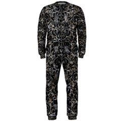 Damask2 Black Marble & Gray Stone (r) Onepiece Jumpsuit (men)