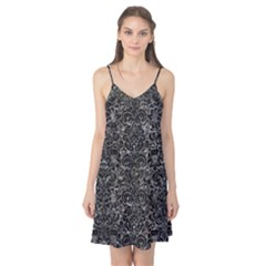 Damask2 Black Marble & Gray Stone (r) Camis Nightgown