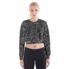 Damask2 Black Marble & Gray Stone (r) Cropped Sweatshirt