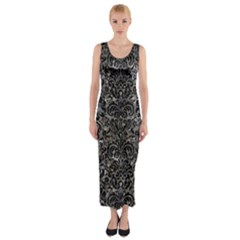 Damask2 Black Marble & Gray Stone (r) Fitted Maxi Dress