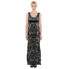 Damask2 Black Marble & Gray Stone (r) Maxi Thigh Split Dress