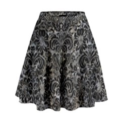 Damask2 Black Marble & Gray Stone (r) High Waist Skirt