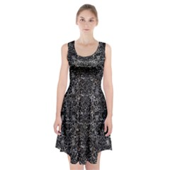 Damask2 Black Marble & Gray Stone (r) Racerback Midi Dress