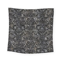 Damask2 Black Marble & Gray Stone (r) Square Tapestry (small)