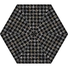 Houndstooth1 Black Marble & Gray Stone Mini Folding Umbrellas