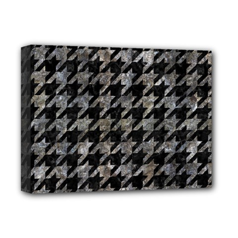 Houndstooth1 Black Marble & Gray Stone Deluxe Canvas 16  X 12
