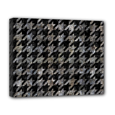 Houndstooth1 Black Marble & Gray Stone Deluxe Canvas 20  X 16
