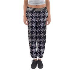 Houndstooth1 Black Marble & Gray Stone Women s Jogger Sweatpants