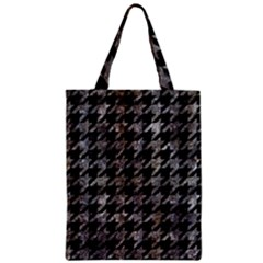 Houndstooth1 Black Marble & Gray Stone Zipper Classic Tote Bag