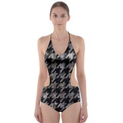 Houndstooth1 Black Marble & Gray Stone Cut Out One Piece Swimsuit