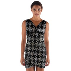 Houndstooth1 Black Marble & Gray Stone Wrap Front Bodycon Dress