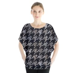 Houndstooth1 Black Marble & Gray Stone Blouse