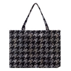 Houndstooth1 Black Marble & Gray Stone Medium Tote Bag