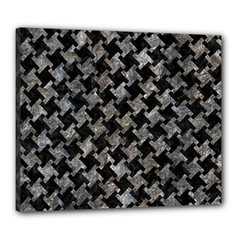 Houndstooth2 Black Marble & Gray Stone Canvas 24  X 20