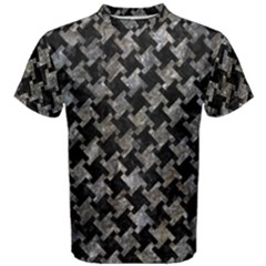 Houndstooth2 Black Marble & Gray Stone Men s Cotton Tee