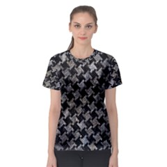 Houndstooth2 Black Marble & Gray Stone Women s Sport Mesh Tee