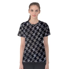 Houndstooth2 Black Marble & Gray Stone Women s Cotton Tee