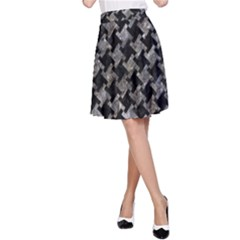 Houndstooth2 Black Marble & Gray Stone A Line Skirt