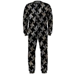 Houndstooth2 Black Marble & Gray Stone Onepiece Jumpsuit (men)