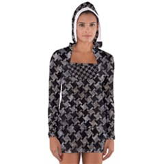 Houndstooth2 Black Marble & Gray Stone Long Sleeve Hooded T Shirt