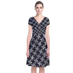 Houndstooth2 Black Marble & Gray Stone Short Sleeve Front Wrap Dress