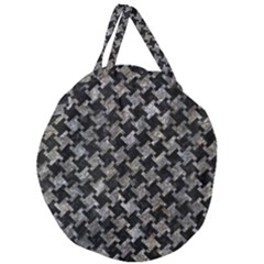 Houndstooth2 Black Marble & Gray Stone Giant Round Zipper Tote