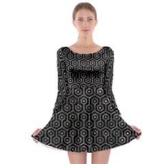Hexagon1 Black Marble & Gray Stone Long Sleeve Skater Dress