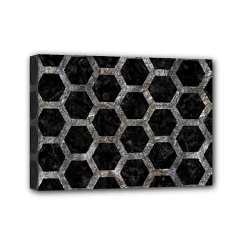 Hexagon2 Black Marble & Gray Stone Mini Canvas 7  X 5