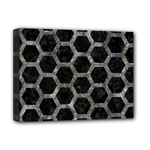 Hexagon2 Black Marble & Gray Stone Deluxe Canvas 16  X 12