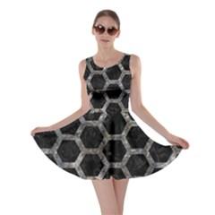 Hexagon2 Black Marble & Gray Stone Skater Dress